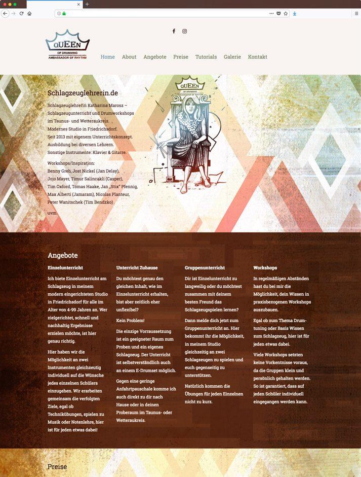 logodesign und responsive website redesign schlagzeuglehrerin