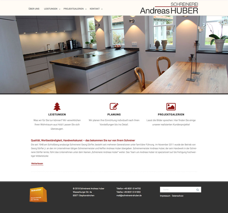 Webdesign Schreinerei Andreas Huber Responsive Wordpress